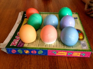 dying Easter eggs with children
